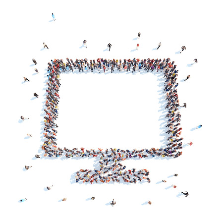 white people: Large group of people in the shape  of a monitor. Flashmob, isolated, white background.