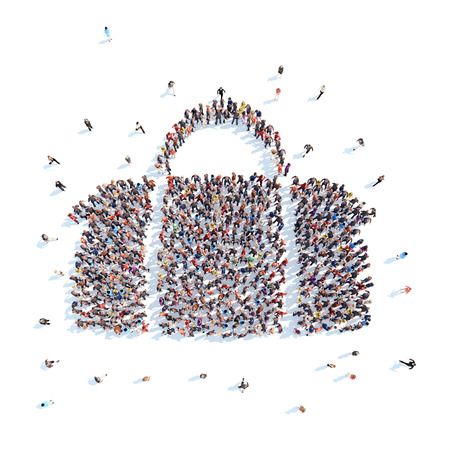 luggage bag: Large group of people in the form of luggage bag. Flashmob, isolated, white background.