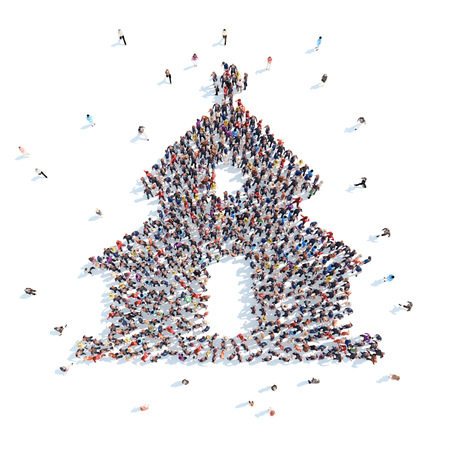 Large group of people in the form of the church. Flashmob, isolated, white background. Stockfoto