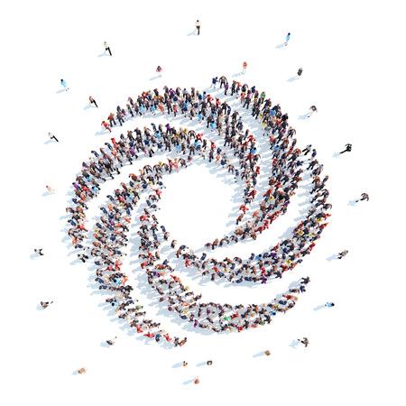 Grote groep mensen in de vorm van een abstract symbool zaken. Geïsoleerd, witte achtergrond. Stockfoto