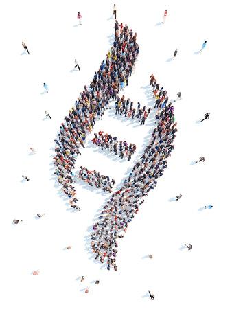 Grote groep mensen in de vorm van een abstract symboolbedrijf. Geïsoleerde, witte achtergrond. Stockfoto
