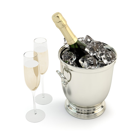 Set  of champagne with glasses. photo