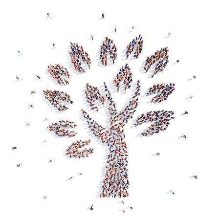 mensen in de vorm van een boom.