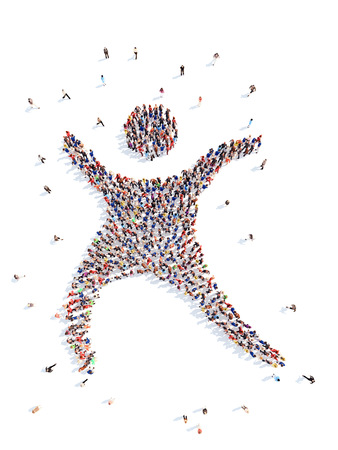 adult  body writing: people in the form of a dancing man. Stock Photo