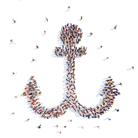 people in the form of an anchor. photo