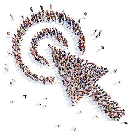redes de mercadeo: personas en la forma de cursor. Foto de archivo