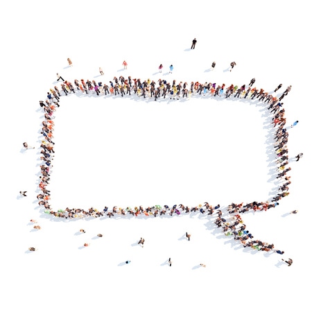 People in the shape of a chat bubble. Stockfoto
