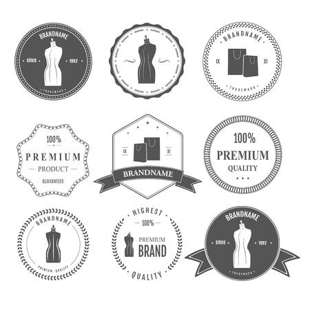 Set vintage retro mannequin shopping badges Illustration
