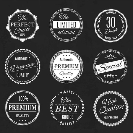 quality: retro vintage quality and guarantee labels