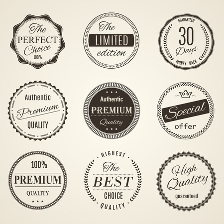 retro vintage quality and guarantee labels photo
