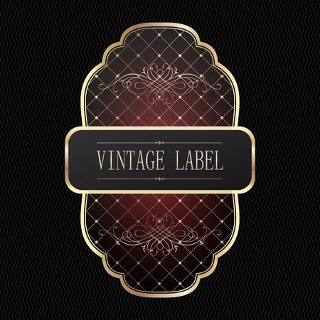 Metal plates vintage framed golden label, dark background