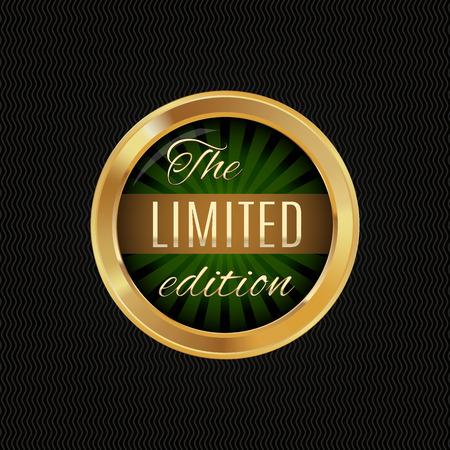 illustration of golden label,  premium quality  , dark background , isolated illustration