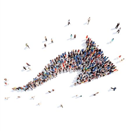 job market: Large group of people in the form of arrows, business, and technology. Isolated, white background.