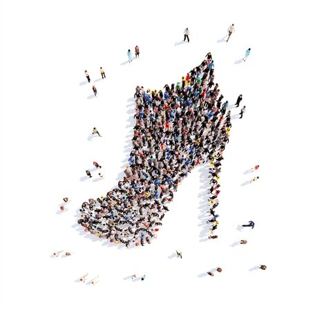 purchasing power: Large group of people in the form of shoes. Isolated, white background. Stock Photo