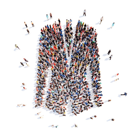 stubble: Large group of people in the form of a jacket. Isolated, white background. Stock Photo