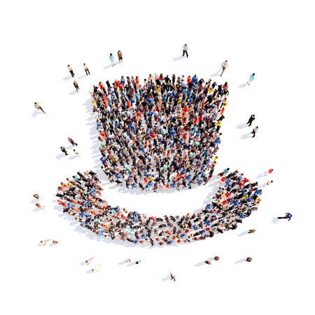 Large group of people in the form of a hat. Isolated, white background. photo