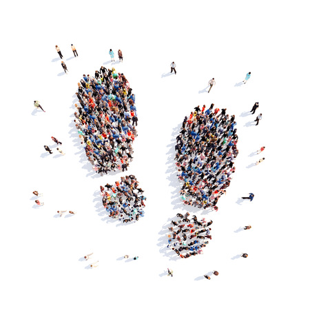 Large group of people in the form of a trace of the shoe. Isolated, white background.