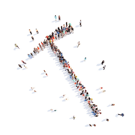 picks: Large group of people in the form of picks. Isolated, white background.