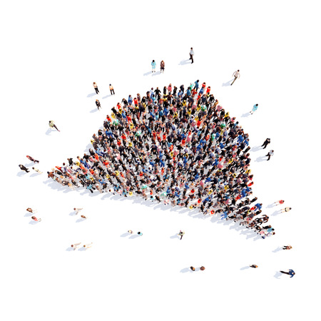 Large group of people in the form of hats. Isolated, white background. photo