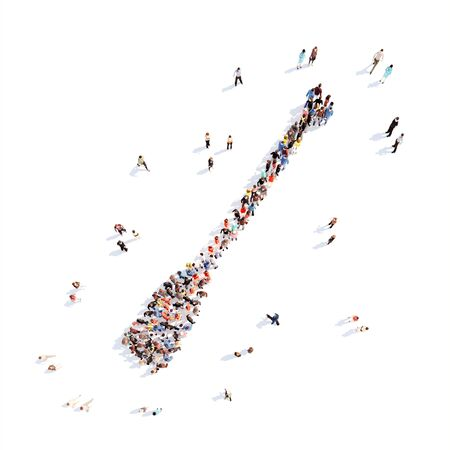 Large group of people in the form of oars. Isolated, white background. photo