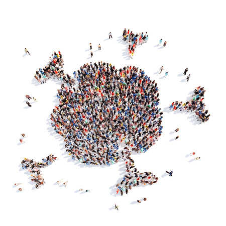 immune system: Large group of people in the form of the immune system. Isolated, white background. Stock Photo