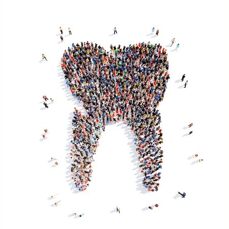 injection valve: Large group of people in the form of a tooth. Isolated, white background. Stock Photo