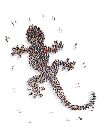 morphing: Large group of people in the form of a lizard. Isolated, white background.