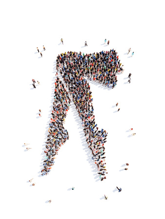 muscle formation: Large group of people in the form of female feet. Isolated, white background.