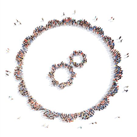 keywords bubble: Large group of people in the form of media icons. Flashmob, isolated, white background. Stock Photo