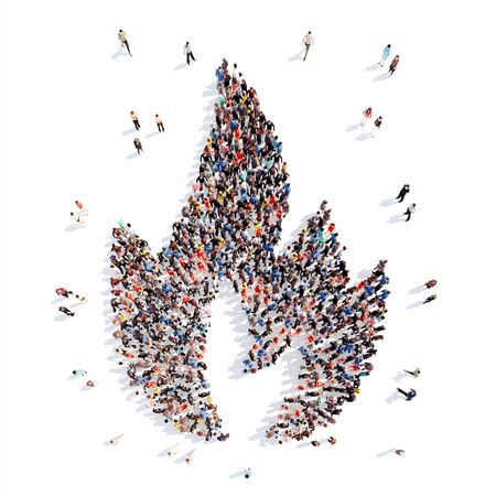 3d circle: Large group of people in the form of a flame of fire. Isolated, white background.