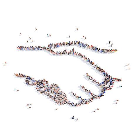 stretta mano: Grande gruppo di persone in forma di una stretta di mano. Isolato, sfondo bianco.