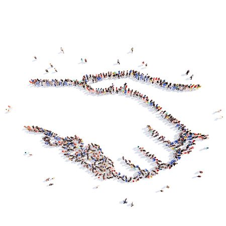 friends together: Large group of people in the form of a handshake. Isolated, white background.