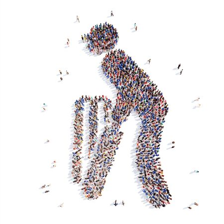 cricketer: Large group of people in the form of cricketer. Isolated, white background.