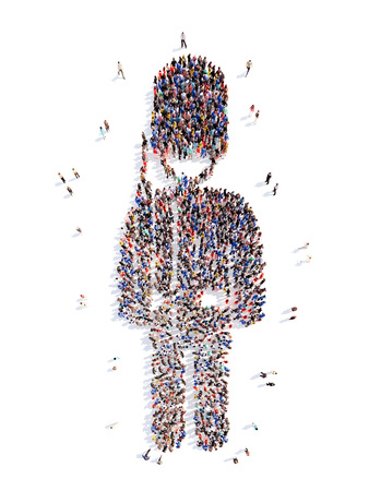 masses: A large group of people in the form of a man. Isolated, white background.