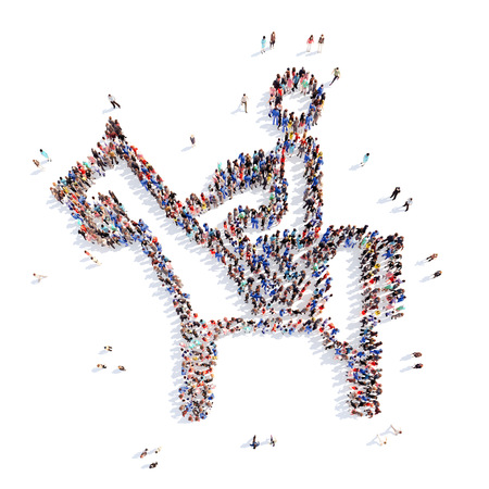crowded space: A large group of people in the form of a man in sports. Isolated, white background. Stock Photo