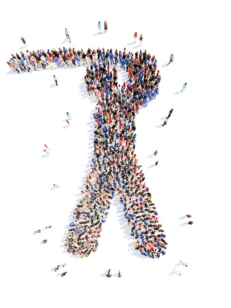 masses: A large group of people in the form of a man in sports. Isolated, white background. Stock Photo