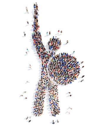 crowded space: A large group of people in the form of a man. Isolated, white background.
