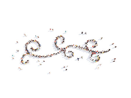 Large group of people in the form of an abstract symbol business. Isolated, white background. photo