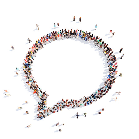Large group of people in the shape of a chat bubble on White background