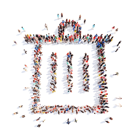 waste basket: Large group of people in the form of the trash can icon. Isolated on white background. Stock Photo