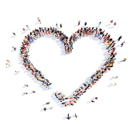Large group of people in the form of hearts, love. Isolated on white background.