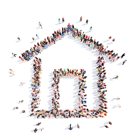 group link: Large group of people in the form of a small house. Isolated, white background.