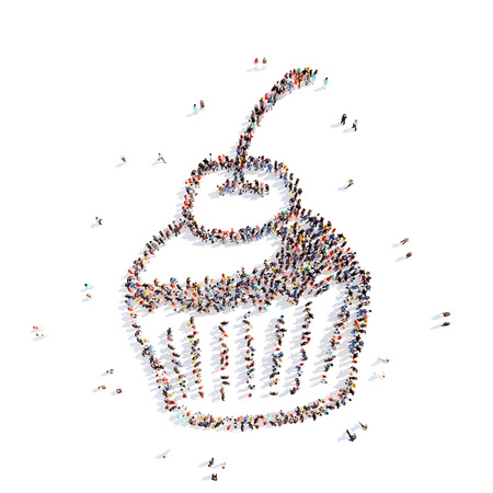 Large group of people in the form of a cake. Isolated, white background. photo