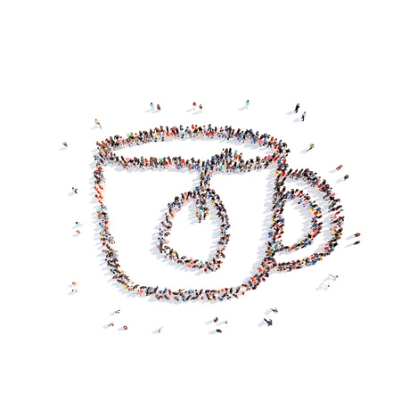 Large group of people in the form of a cup of tea. Isolated, white background. photo