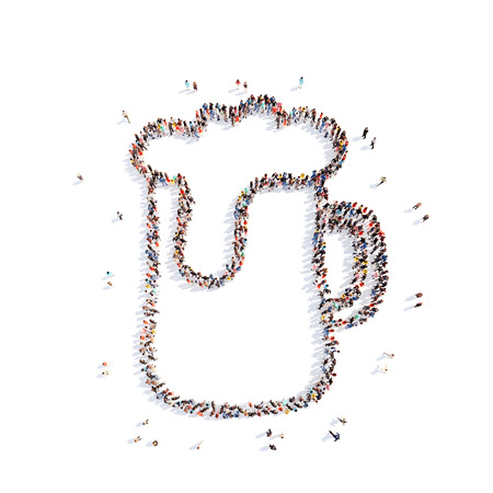 overcrowded: Large group of people in the form of a glass of beer. Isolated, white background. Stock Photo