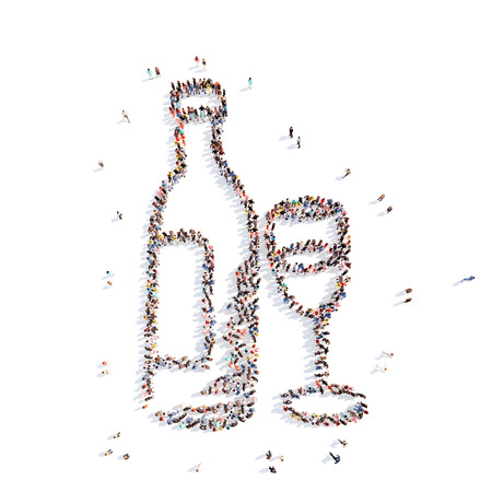 overcrowded: Large group of people in the form of a bottle of vodka. Isolated, white background.