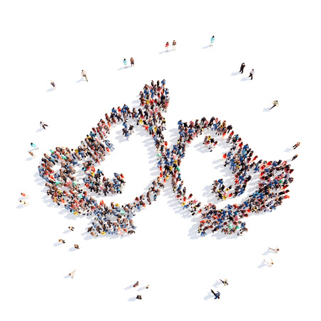 3d dove: Large group of people in the form of birds. Isolated, white background.