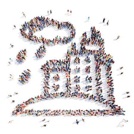 everyday scenes: Large group of people in the form of the city. Isolated, white background. Stock Photo