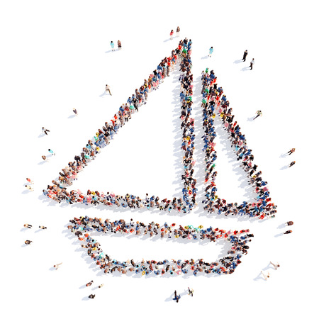 yacht isolated: Large group of people in the form of a yacht. Isolated, white background. Stock Photo