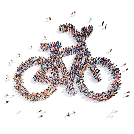 samui: Large group of people in the form of a bicycle. Isolated, white background. Stock Photo